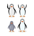 Funny Emperor King Penguins Set Isolated on White vector image