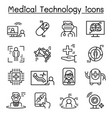futuristic medicine medical technology icon set vector image