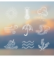 hand draw weather icon set vector image vector image