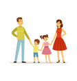 happy family parents and children characters vector image vector image