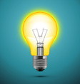 Light bulb on blue background vector image vector image