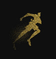 man running silhouette gold glitter splash vector image