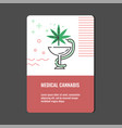 medical cannabis vertical banner with line icon of vector image vector image