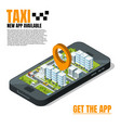 mobile phone with city landscape online taxi vector image vector image