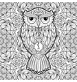 owl tattoo print or coloring page poster vector image