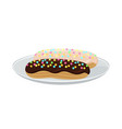 pair yummy glazed cakes vector image
