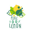 pure lemon 100 percent logo template original vector image vector image