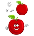 Red apple fruit character showing thumb up vector image