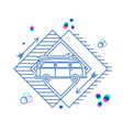 Retro summer car with surfboard flat line art icon