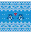 seamless blue penguin knitting background vector image vector image