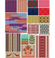 Set crocheted backgrounds Traditional style vector image