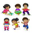 set of african children vector image