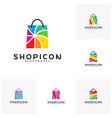 set of color shop logo template design vector image vector image