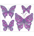 set pink ornamental butterflies isolated on vector image vector image