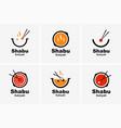 shabu sukiyaki logo icon graphic japanese buffet vector image