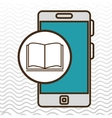 smartphone blue and book isolated icon design vector image vector image