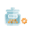 stelle dry pasta in a transparent glass container vector image vector image