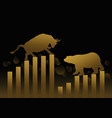 stock market concept design of gold bull and bear vector image