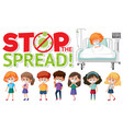 stop spead logo with group teenager vector image vector image