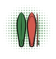 Surfboards comics icon vector image vector image