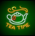 tea time neon icon with hot vector image vector image