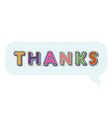 thanks pop art comic style inscription in speesh vector image vector image