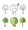 tree icon trees symbols isolated on white vector image vector image
