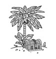 uninhabited island palm tree treasure chest sketch vector image