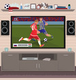 viewing soccer game at home on tv vector image
