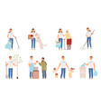 volunteers characters people social working and vector image vector image