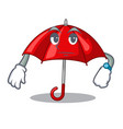 waiting red umbrella in shape cartoon funny vector image