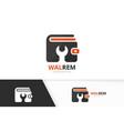 wallet and repair logo combination purse vector image vector image