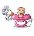 with megaphone character childrens pacifiers for vector image vector image