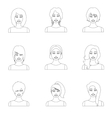 Woman set icons in outline style Big collection vector image