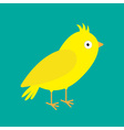 Yellow canary bird Green background Flat design vector image
