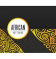 African Golden pattern on black background vector image