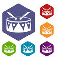 drum and drumsticks icons set vector image