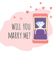 Engagement Card Box with Diamond Ring and Will You vector image