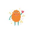 a cute orange monster vector image