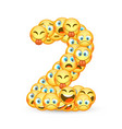 a set of emoticons shaped as two number vector image vector image