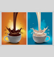 abstract background with chocolate and milk vector image vector image
