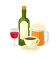 alcohol drinks wineglass bottle wine and glass vector image