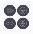 Arrows icons Download repeat linear signs vector image vector image