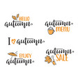 autumn lettering set vector image