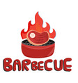 barbecue meat on fire grill background imag vector image