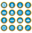 black friday icons blue circle set vector image