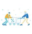 businessmen characters dragging huge trolley vector image