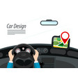 car interior with hands on steering wheel and red vector image vector image