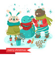 cartoon rabbit and bear making snowman vector image vector image