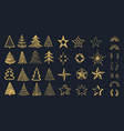 christmas decorations pack doodle xmas tree vector image